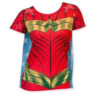 Wonder Woman Women's Sublimated Cape Costume Tee Shirt Red