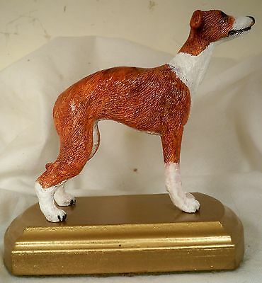 Dog Figurine ITALIAN GREYHOUND Standing Gold Base Red/White USA 1990's WONDERFUL