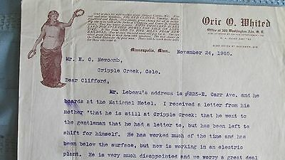 Cripple Creek Colorado Mining Letter-1905-O. Whited Real Estate Letterhaed
