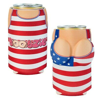 USA All America Betsy Boobzie Beer Can Cooler Red