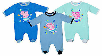 Boys Baby Peppa Pig GEORGE Pig All in One Cotton Romper Suit 1 to 9 Months NEW