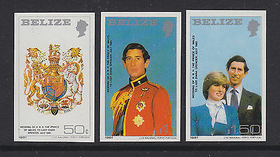Belize 1981 Royal Wedding imperforate Charles & Diana set of 3 imp. imperf. MNH