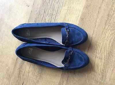 Navy Suede Loafers Size UK 7 EUR 41