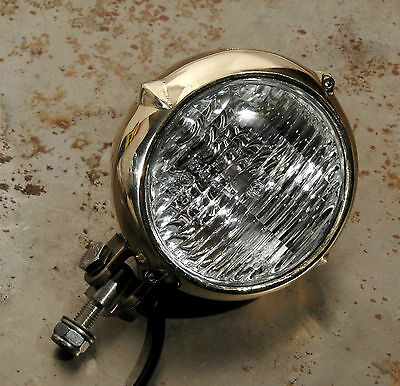 "Old School Natural Solid Brass 4"" Eared Headlight Harley Xs650 Bobber Springer"
