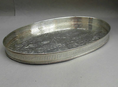 "Vintage Silver Plated Oval Gallery Tray ~ 17.5"" ~ on Copper / SHEFFIELD English"