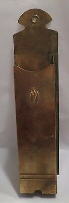 Vintage Brass Match Holder w/ ornate fire decoration Large wall hanging C0