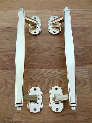 1st PAIR OF BRASS ART DECO DOOR PULL HANDLES KNOBS PLATES FINGER PUSH