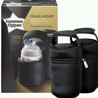 2 X BaBy Bottle Bag Holder Carrier Carry Thermal TOMMEE TIPPEE Closer to Nature.
