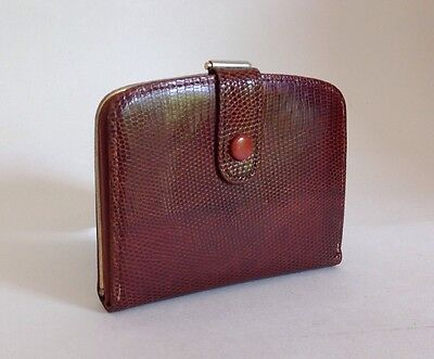 1960s Tan Tegu Lizard Skin Vintage Coin Purse Wallet With Tan Leather Lining