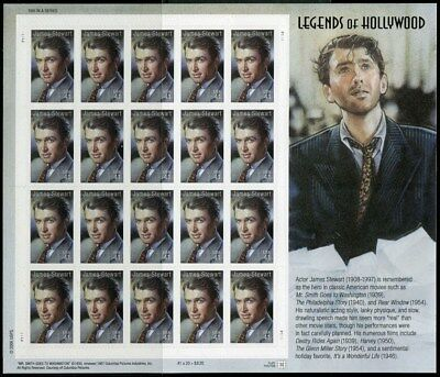 Jimmy Stewart Legends of Hollywood Sheet Of 20 Stamps 41 Cent Stamps Scott 4197
