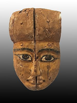 Egyptian Wooden Mummy Mask Yellowish Color