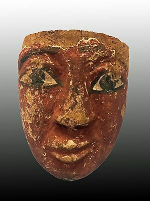 Egyptian Wooden Mummy Mask Reddish Color