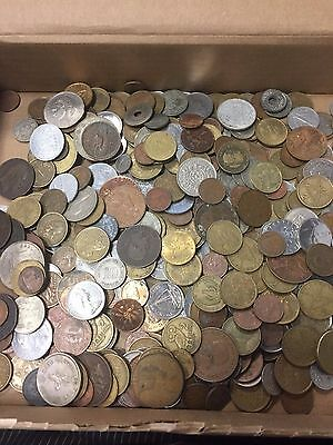 2 lb of Unsearched World Coins Lot - Mixed Foreign Coins With Bonus Item