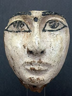 Ancient  Egyptian Wooden Mummy Mask  Third Intermediate Period, 22Nd Dynasty, 9