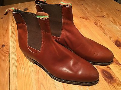 Mens Vintage Chelsea Boots In Brown Tan Leather Size 8