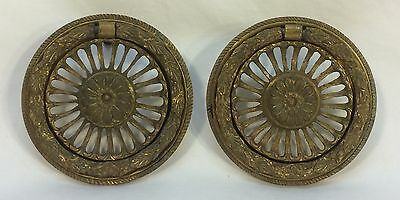 Pair Large Antique Vintage Ornate Round Cast Bronze Drawer Pulls