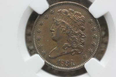 1834 Classic Head Half Cent - Graded NGC au50