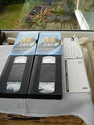 2 Maxell E-240-M 4 hour VHS video tapes. Used.