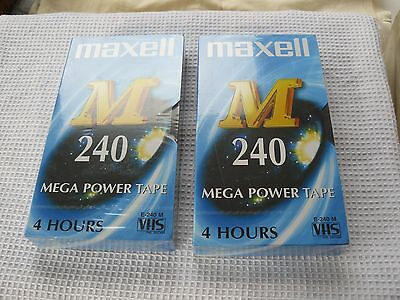 2 Maxell E-240-M 4 hour VHS video tapes. Still wrapped. Unused.