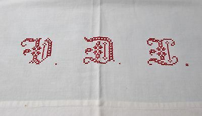 Antique French Large Lay Over Pillow Sham Red V D L Monogram Hand Crocheted Trim