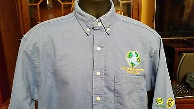 John Deere Engine Works Union Line Button Blue Work Shirt Patches L