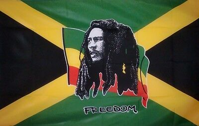 Large 5Ft X 3Ft Bob Marley Freedom Rasta Reggae Roots Jamaican Flag
