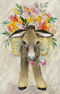 *Vintage Swap / Playing Card - 1 SINGLE -  DONKEY AND FLOWERS