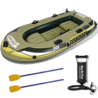 3 Sizes Inflatable Boat Kayak Fishing Raft Pump Oars Marine Grade Cruise Dinghy