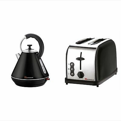 Matching Kitchen Set 1.8L Electric Cordless Kettle 2 Slice Bagel Toaster BLACK