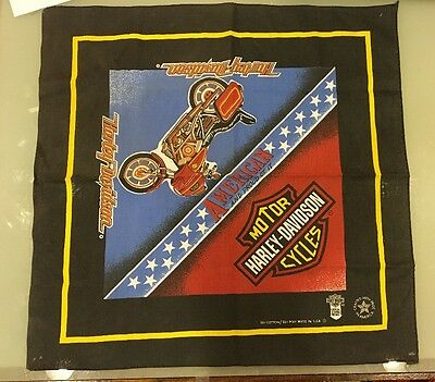Vintage 1980s Harley-Davidson Official Licensed Bandana American And Proud Of It