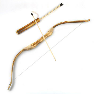 WOODEN BOW WITH 3 ARROWS AND QUIVER Wood Archery Bow for Hunting Kids Toy Gift