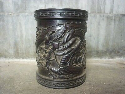 Chinese antiques,noble collection,woodcarving,manual,dragon,brush pot A75