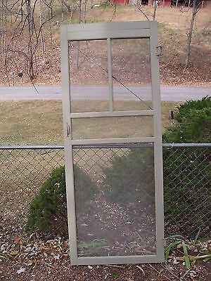 Vintage WOOD SCREEN DOOR wooden Celery Green architectural salvage porch