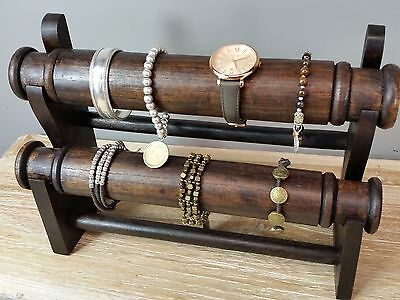 Hand Made Chocolate Double Roller Jewellery Display Stand Bracelet