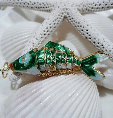 Wiggle Fish Cloisonne Charm Pendant Bead Green Enamel Gold Plated Med 50 MM