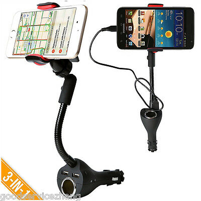 360° Car Smartphone Mount Holder Dual USB Charger Port+Cigarette Lighter Power
