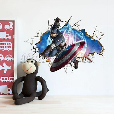 3D Avengers Captain America Wall Sticker Kids Boy Bedroom Mural Decal Home Decor