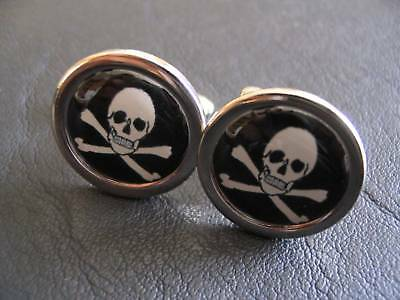 Jolly Roger Skull Crossbones Chrome Finish Cufflinks