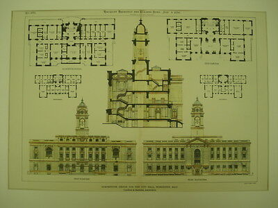 City Hall Competitive Design, Worcester, MA, 1896, Original Plan
