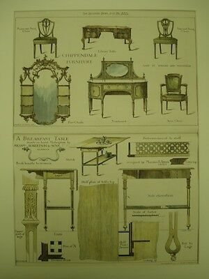 Chippendale Furniture featuring a Breakfast Table in mahogany, UK, 1901, Orig.