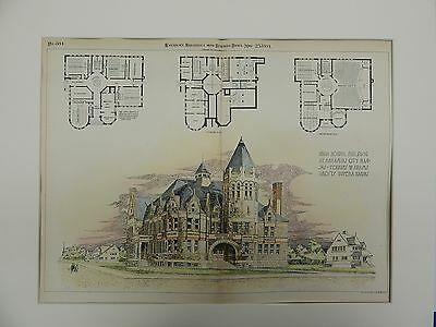 High School Building, Arkansas City, Kansas. 1891. Original Plan.