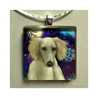 Saluki Dog Moon Charm Art Gift Pet Necklace Jewelry Glass Tile Pendant & Chain