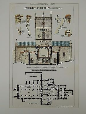 Transverse Section, St. David's Cathedral, South Wales, UK, 1882, Original Plan
