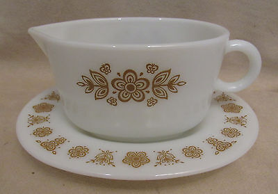 "PYREX Corning ""BUTTERFLY GOLD"" GRAVY BOAT AND UNDERPLATE"