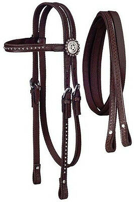 Horse & Western Tack Equipment Tough 1 Nylon Bridle Set With Conchos Brown Full