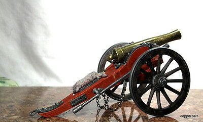 Civil War Brass Barrel Cannon 1/14 Detail Scale Model Includes Both Flags