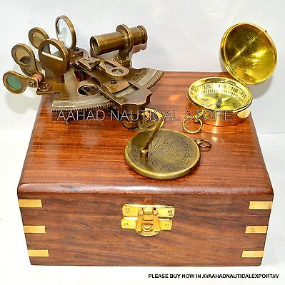 Maritime Collectible Nautical Brass German Sextant W/wooden Box Gift