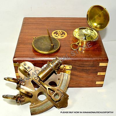 NAUTICAL MARITIME BRASS SEXTANT W/WOODEN BOX SEXTANT ASTROLABE GIFT m