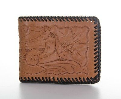 Vintage Brown Tooled Leather Billfold Wallet