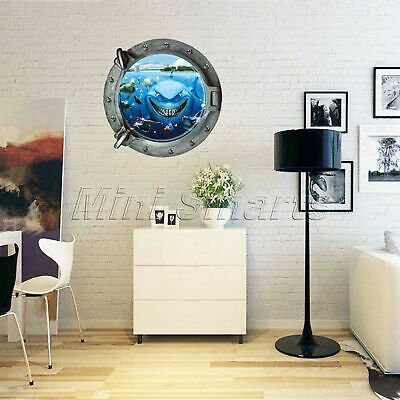 New Submarine Porthole View Shark Wall Sticker Decal Mural Bath Room Home Decor